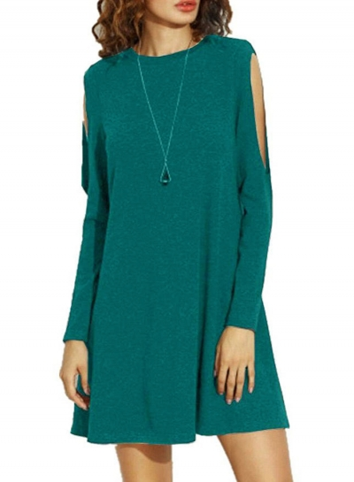 Fashion Round Neck Long Sleeve Cut out Loose Dress
