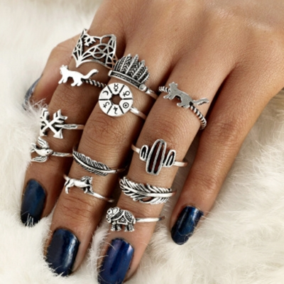 Fashion 12 Pieces Leaf Feather Round Finger Rings Multiple Sets Of Rings STYLESIMO.com