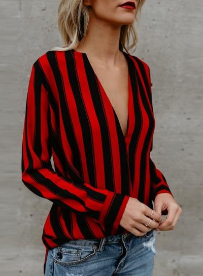' Fashion Long Sleeve Strips Splice Shirt