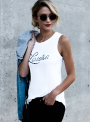 Casual Sleeveless Letter Printed Tank Top