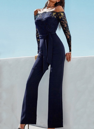 Lace Stitching Butterfly Collar Wide Leg Jumpsuit