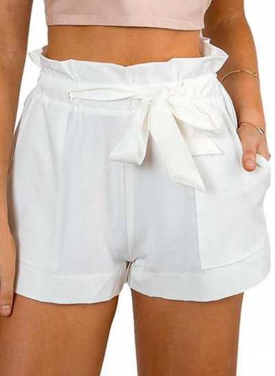 Fashion Ruffle Belt Wide Leg Shorts