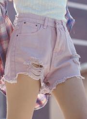 High Waist Fashion Washed and Brushed Pockets Denim Shorts