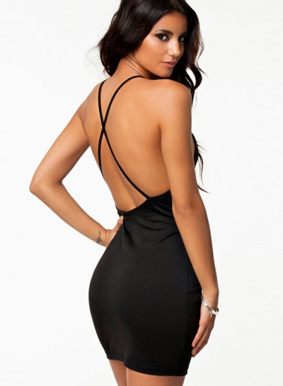 Fashion Sexy Black Cross Spaghetti Strap Backless Bodycon Dresses
