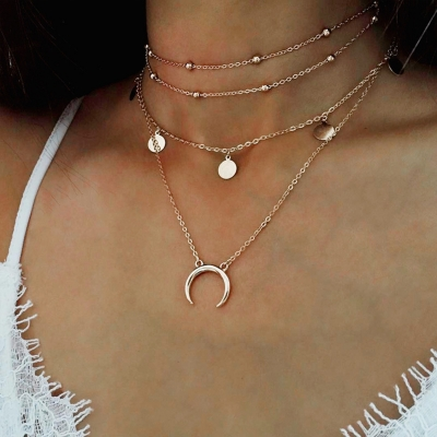 Circle and Moon Form Multilayer Nib Clavicle Pendant Necklace