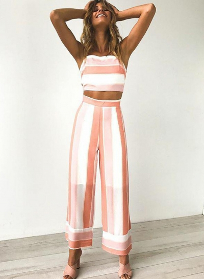 Striped Backless Wide Leg Pants Suit