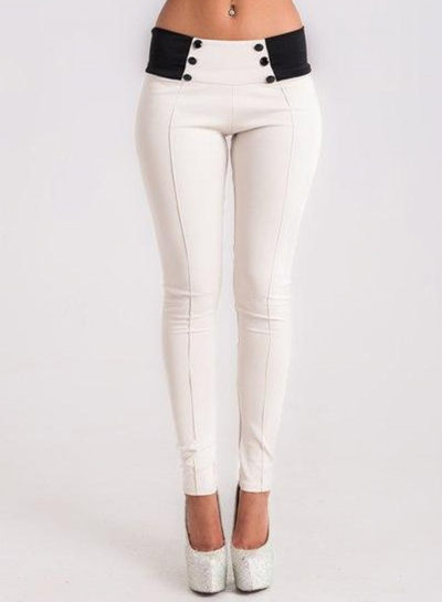 Slender Cotton Splice Pencil Pants