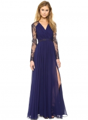 Fashion Lace Embroidery Joint Hollowed Out V Neck Maxi Dress