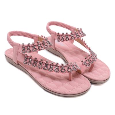 fee3b7b5b1f8 Fashion Pink Bohemia Summer Beach Thong Flat Sandals With Crystal -  STYLESIMO.com
