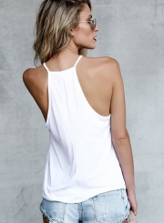 Sleeveless Printed Letter Pullover Tank Top