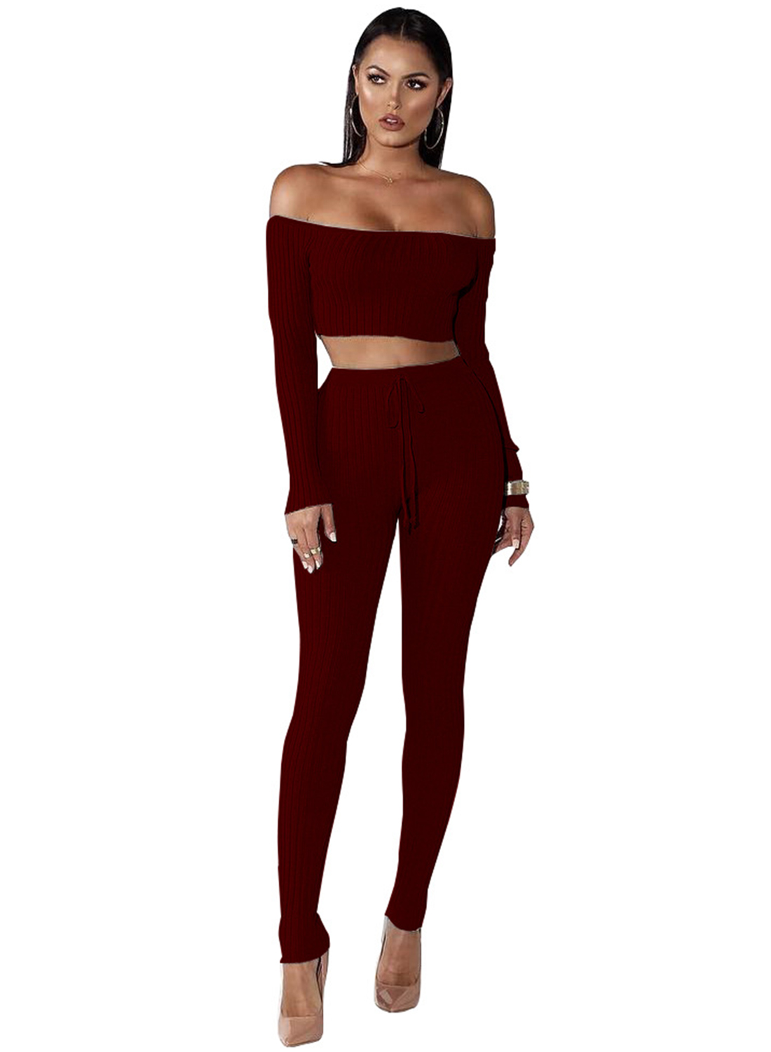 Shoulder And Off Crop Long Sleeve 2 Piece Sets Legging Top sBChQrtdx