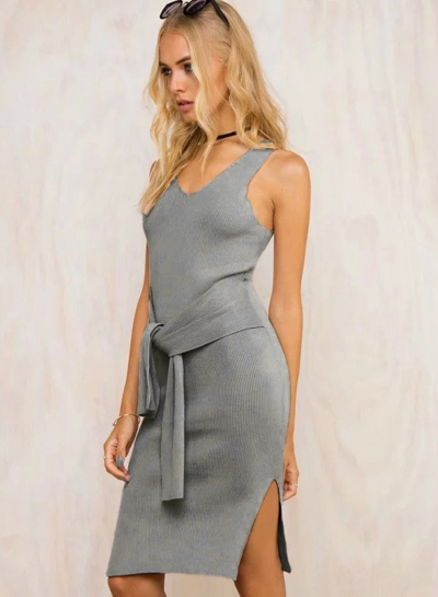 Solid V Neck Short Sleeve Bow tie Slit Bandage Tank Dress