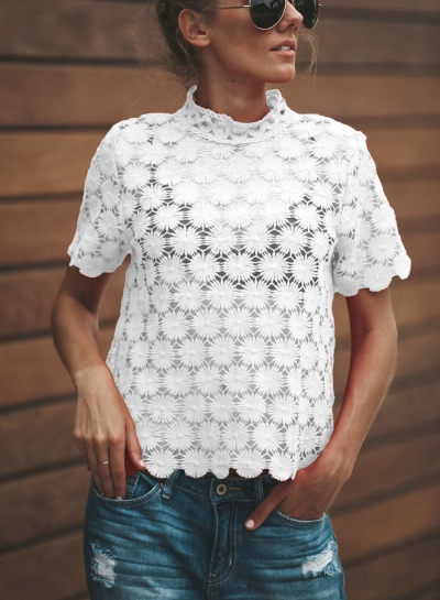 Fashion Solid Short Sleeve Floral lace Hollowed Out Tee Shirt