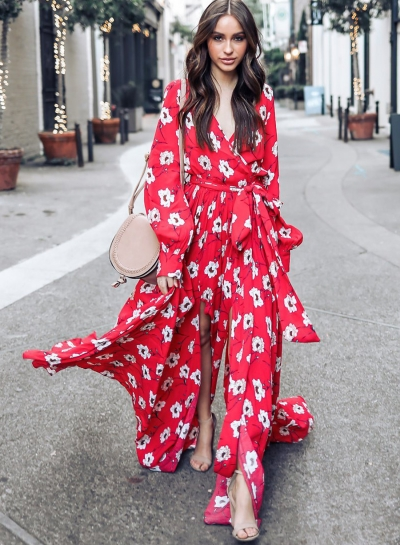 Fashion Floral Printed Long Sleeve Lace-up V Neck Maxi Dress