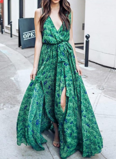 Fashion Sexy Floral Printed Sleeveless V Neck Chiffon Women Maxi Dress