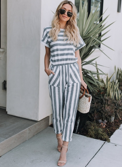 Casual Striped Short Sleeve Round Neck Slim Women Jumpsuits With Pockets