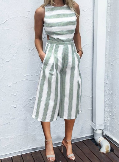 Fashion Casual Striped Sleeveless Straight Wide Leg Jumpsuits