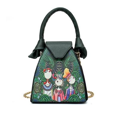 Fashion Cartoon Floral Printed One Shoulder Hasp Flab Women Bags
