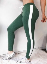 Sexy Casual Color Blocked Slim Women Leggings WIth Drawstring