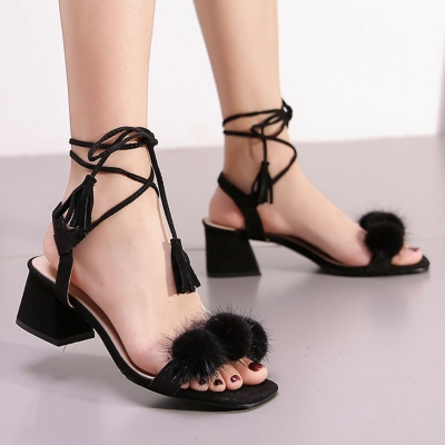 Solid Summer Low Heel Open-toed Slingbacks Lace-up Sandals