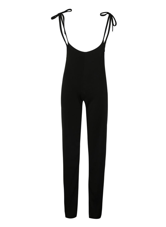 e2968a2fa43a3 Fashion Solid Black Slim Lace-up High Waist Wide Leg Women Pants ...