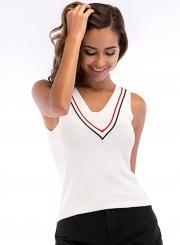 Sexy Summer Slim Sleeveless Backless V Neck Women Knitwear Tank Top