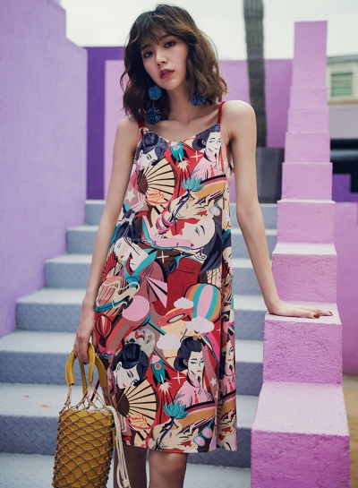 Ethnic Beach Floral Printed Spaghetti Strap Round Neck Women Loose Dress