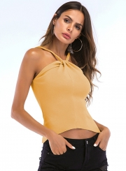Sexy Solid Halter Spaghetti Strap Off  Shoulder Sweater Tank Top