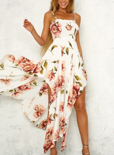Irregular Floral Printed Spaghetti Strap Square Neck Slim Maxi Dress