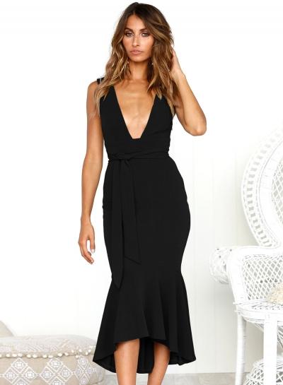 Fashion Solid Strap Sleeveless Backless Tie Waist V Neck Slim Women Dress