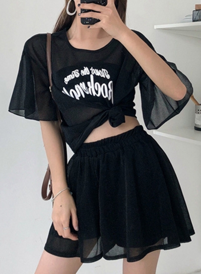 Fashion Loose Women's Fashion Loose Top and Wide Leg Shorts Set