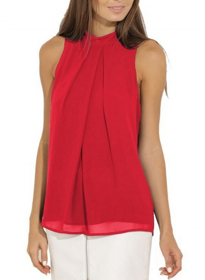 Fashion Summer Pure Color Sleeveless Flounce Halter Blouses
