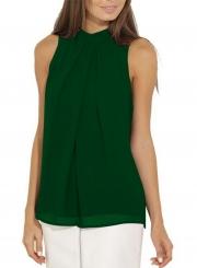 Fashion Summer Pure Color Sleeveless Flounce Halter Blouses