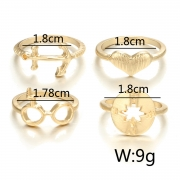 Fashion Hollow Pattern Geometric heart Five-pointed Star Ring Set
