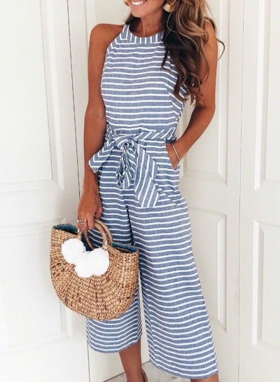 Fashion Striped Off The Shoulder Sleeveless Tie Waist Wide Leg Jumpsuits