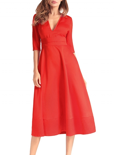 Vintage Fashion Solid Half Sleeve V Neck Midi Women Dress With Zip