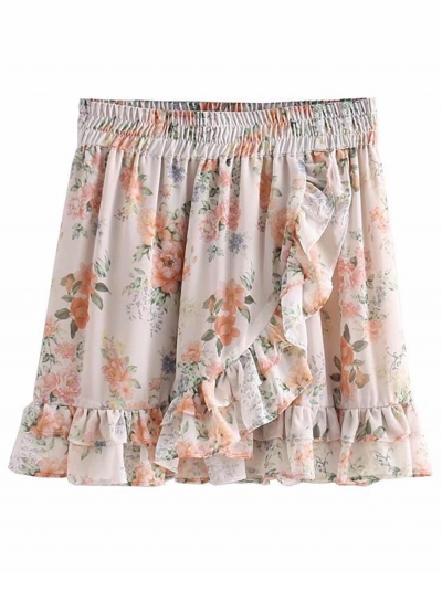 Fashion Sweet Floral Printed Flounced Elastic Waist  Women Mini Skirt