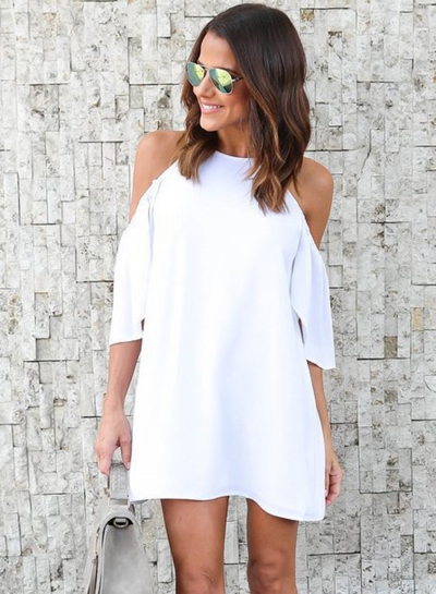 Fashion Pure Color Short Sleeve Off The Shoulder Round Neck Dress