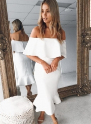 Fashion Summer Sexy Flounce Off The Shoulder Joint Bodycon Dress