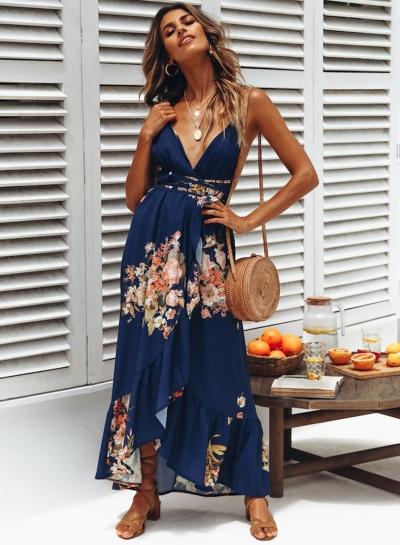 Fashion Sexy Floral Printed Sleeveless Backless V Neck Maxi Dress