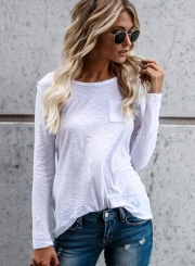 Casual Solid Long Sleeve Round Neck Bamboo knot cotton Women Tee Shirt