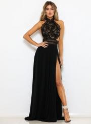 Fashion Lace Hollowed Out Sleeveless Backless High Slit Women Maxi Dress