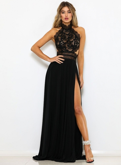 Fashion Lace Hollowed Out Sleeveless Backless High Slit Women Maxi Dress