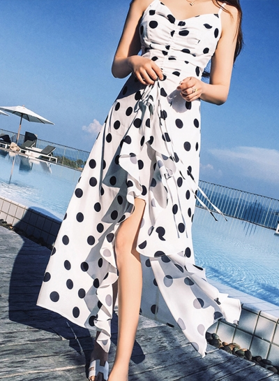 Beach Irregular Spaghetti Strap V Neck Women Dress With Polka Dots