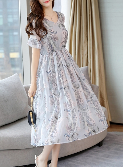 Sweet Slim Chiffon Short Flounce Sleeve V Neck Dress With Pattern