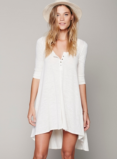 Concise Solid Irregular Half Sleeve Round Neck Women Dress With Buttons