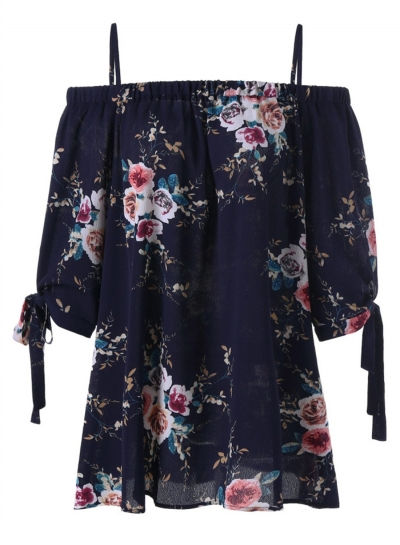 Floral Printed Spaghetti Strap Half Sleeve Slash Neck Blouse