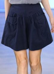 Summer Casual Loose Solid  Elastic Waist Wide Leg Women Shorts