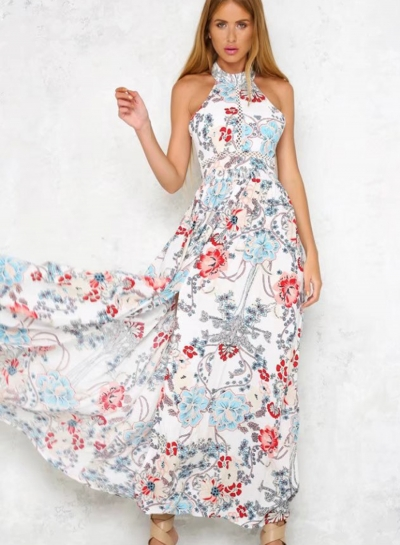 Fashion Floral Printed Halter Sleeveless Backless Lace-up Slit Women Dress