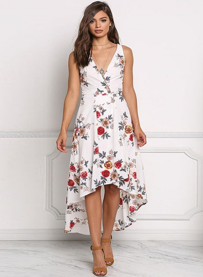 Irregular Chiffon Floral Printed Tie Waist V Neck Midi Dress
